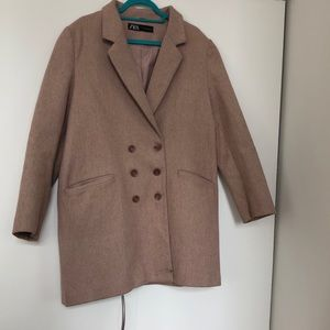 ZARA Blush Double-Breasted Overcoat / XL
